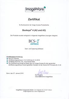BCS-2 Certificate Bookeye4 (A2 & A3)